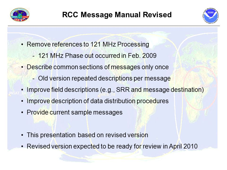 Remove references to 121 MHz Processing - 121 MHz Phase out occurred in Feb.