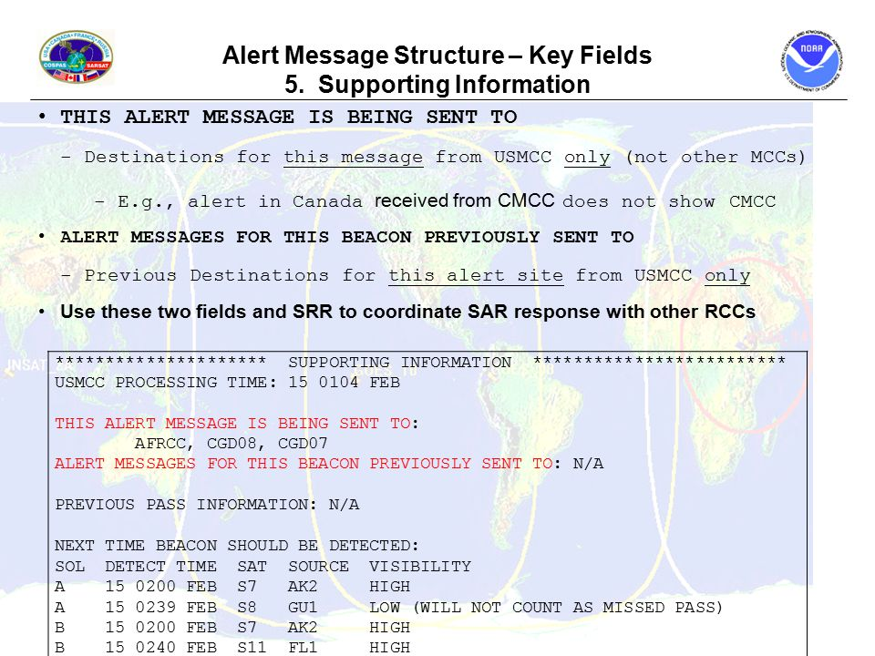 Alert Message Structure – Key Fields 5.