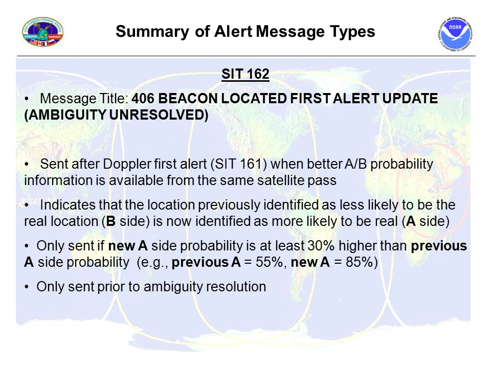 Summary of Alert Message Types SIT 162 Message Title: 406 BEACON LOCATED FIRST ALERT UPDATE (AMBIGUITY UNRESOLVED) Sent after Doppler first alert (SIT 161) when better A/B probability information is available from the same satellite pass Indicates that the location previously identified as less likely to be the real location (B side) is now identified as more likely to be real (A side) Only sent if new A side probability is at least 30% higher than previous A side probability (e.g., previous A = 55%, new A = 85%) Only sent prior to ambiguity resolution
