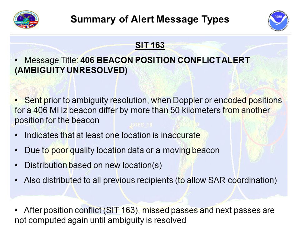 Summary of Alert Message Types SIT 163 Message Title: 406 BEACON POSITION CONFLICT ALERT (AMBIGUITY UNRESOLVED) Sent prior to ambiguity resolution, when Doppler or encoded positions for a 406 MHz beacon differ by more than 50 kilometers from another position for the beacon Indicates that at least one location is inaccurate Due to poor quality location data or a moving beacon Distribution based on new location(s) Also distributed to all previous recipients (to allow SAR coordination) After position conflict (SIT 163), missed passes and next passes are not computed again until ambiguity is resolved