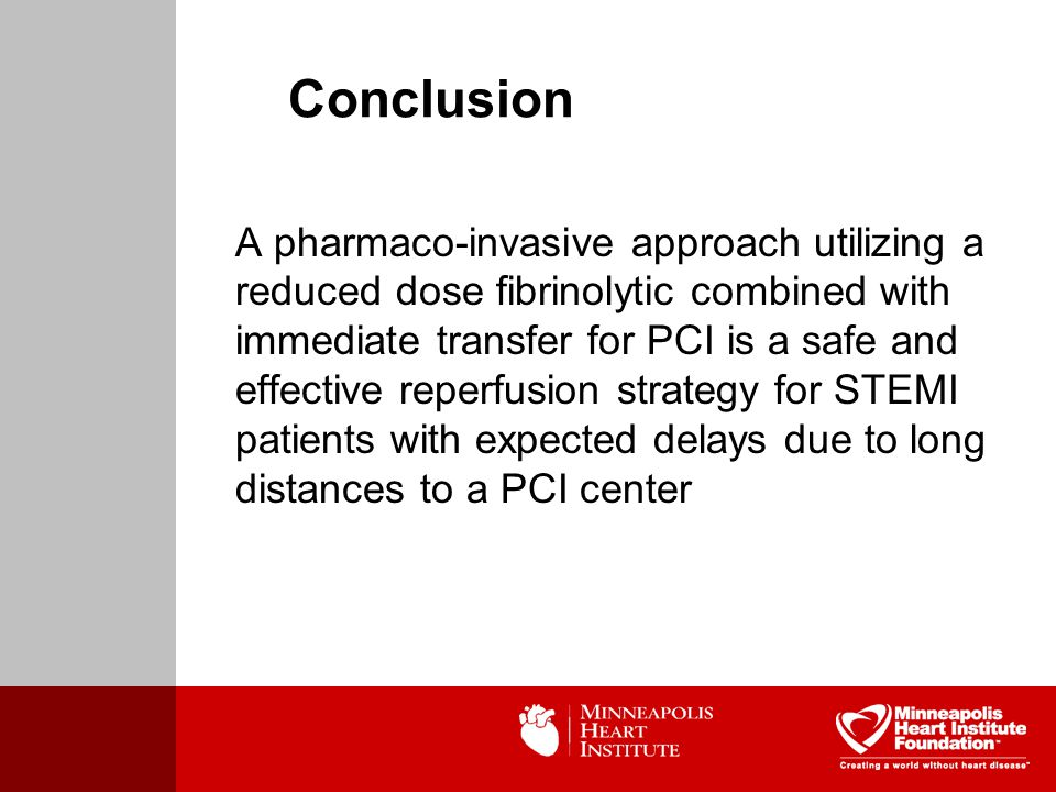 A pharmaco-invasive approach utilizing a reduced dose fibrinolytic combined with immediate transfer for PCI is a safe and effective reperfusion strategy for STEMI patients with expected delays due to long distances to a PCI center Conclusion