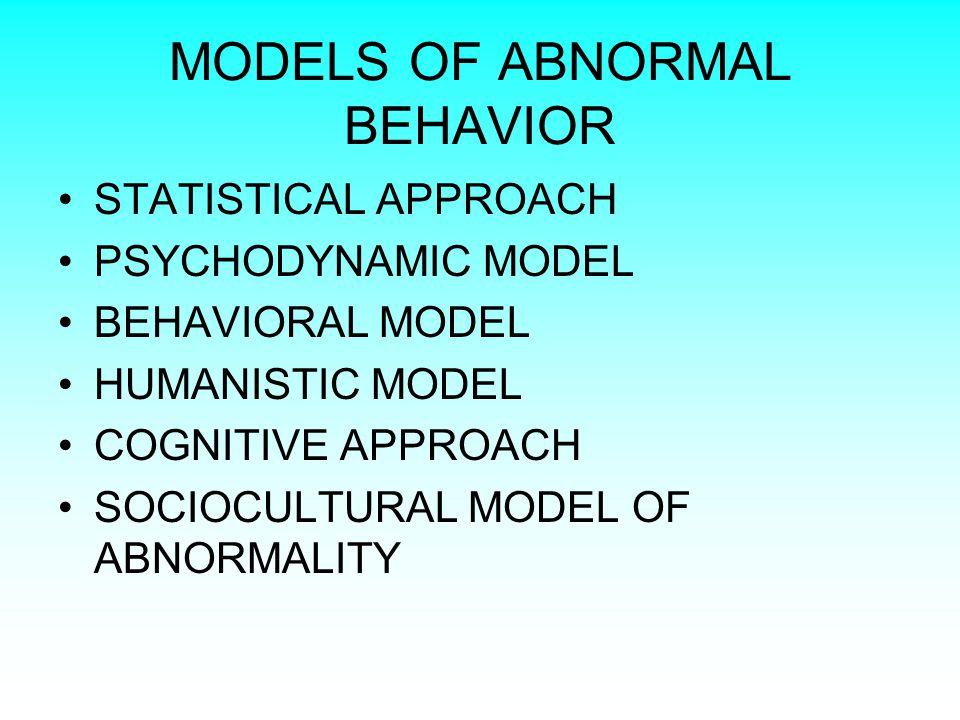 MODELS OF ABNORMAL BEHAVIOR STATISTICAL APPROACH PSYCHODYNAMIC MODEL BEHAVIORAL MODEL HUMANISTIC MODEL COGNITIVE APPROACH SOCIOCULTURAL MODEL OF ABNORMALITY