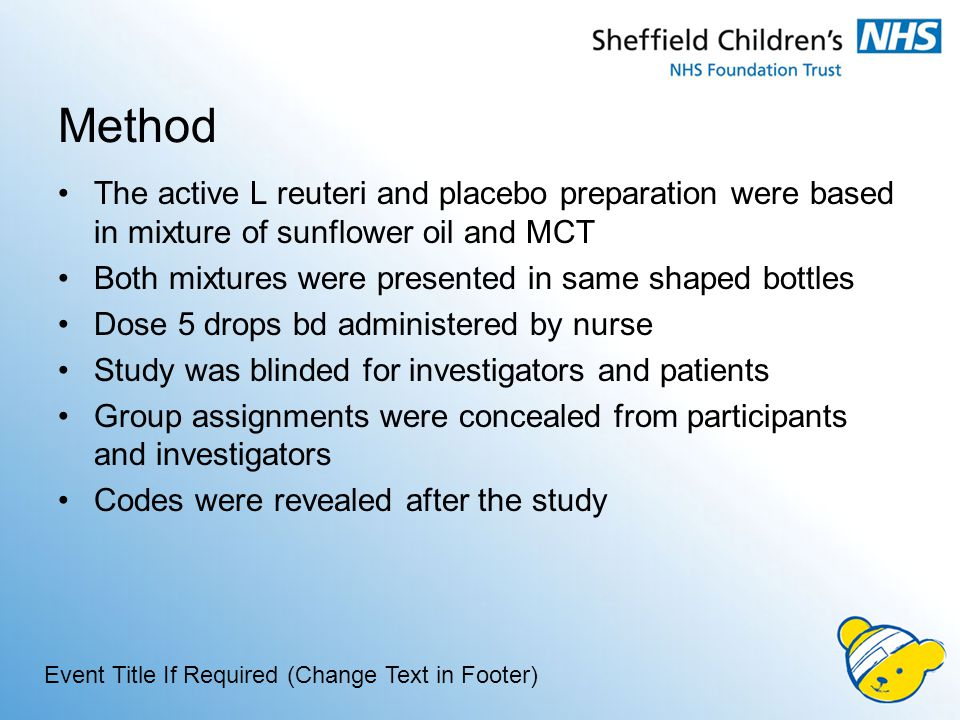 Method The active L reuteri and placebo preparation were based in mixture of sunflower oil and MCT Both mixtures were presented in same shaped bottles Dose 5 drops bd administered by nurse Study was blinded for investigators and patients Group assignments were concealed from participants and investigators Codes were revealed after the study Event Title If Required (Change Text in Footer)