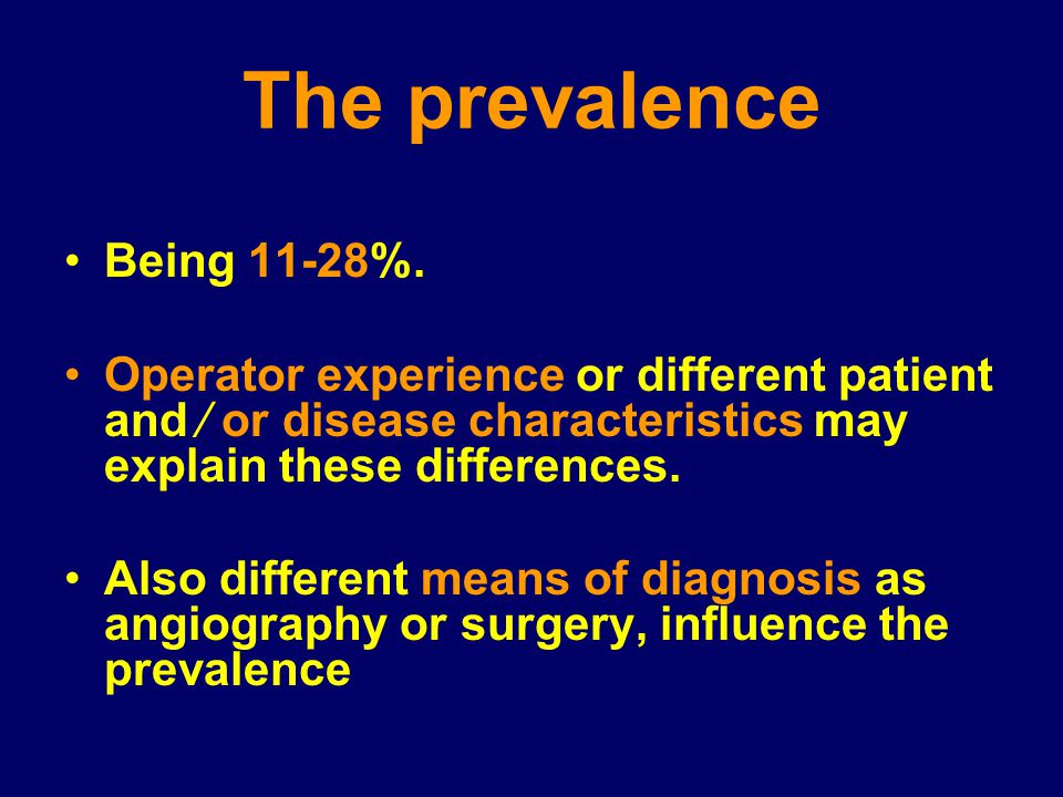 The prevalence Being 11-28%.