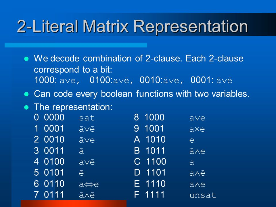 2-Literal Matrix Representation We decode combination of 2-clause.