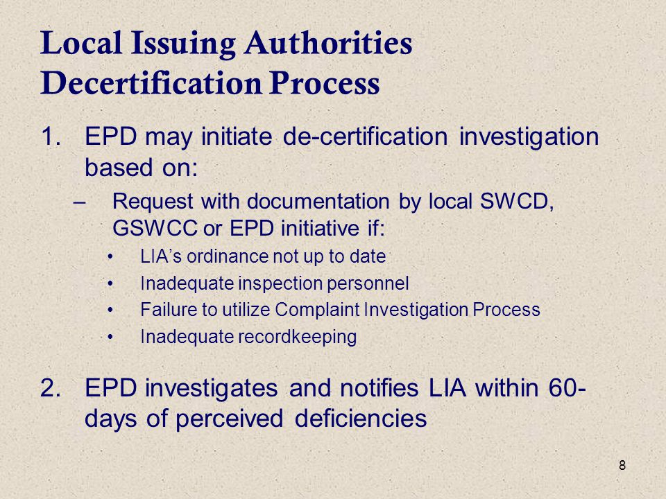 29 Other Agencies Georgia Forestry Commission –E&SC complaints relating to logging/silviculture Coastal Resources Division (GA DNR) –Jurisdictional lines relating to marshes and buffers