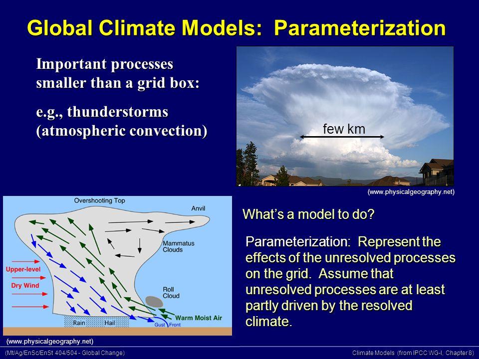 (Mt/Ag/EnSc/EnSt 404/504 - Global Change) Climate Models (from IPCC WG-I, Chapter 8) Global Climate Models: Parameterization What's a model to do.