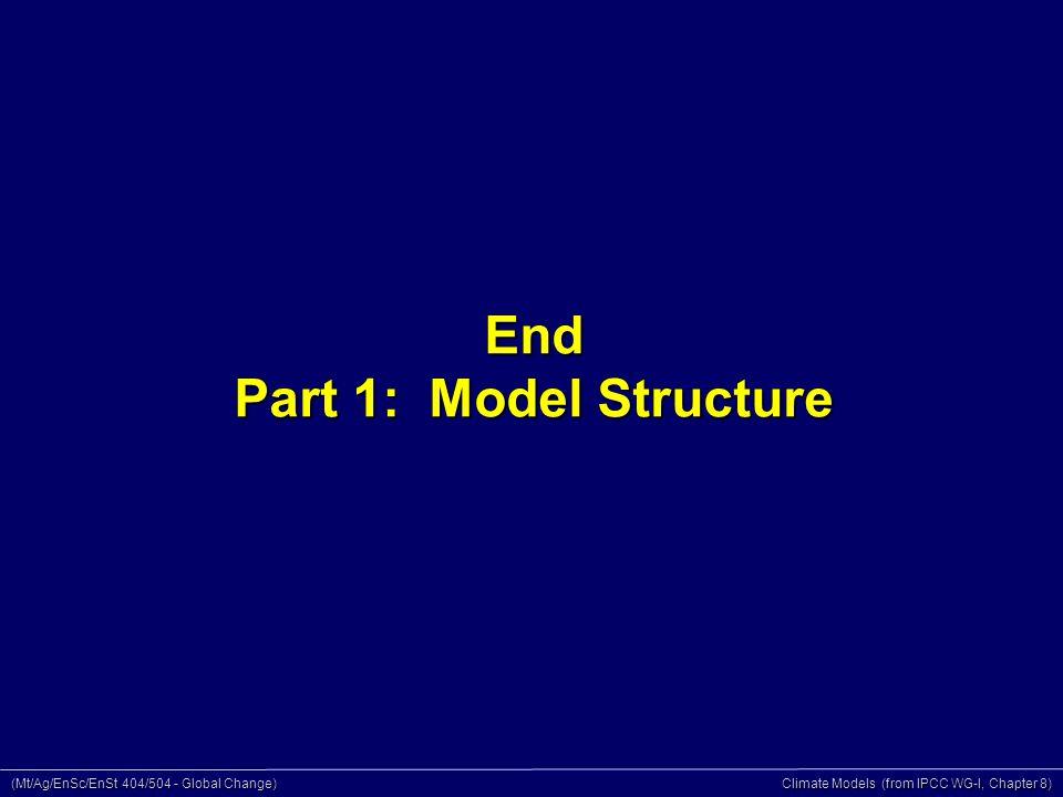 (Mt/Ag/EnSc/EnSt 404/504 - Global Change) Climate Models (from IPCC WG-I, Chapter 8) End Part 1: Model Structure