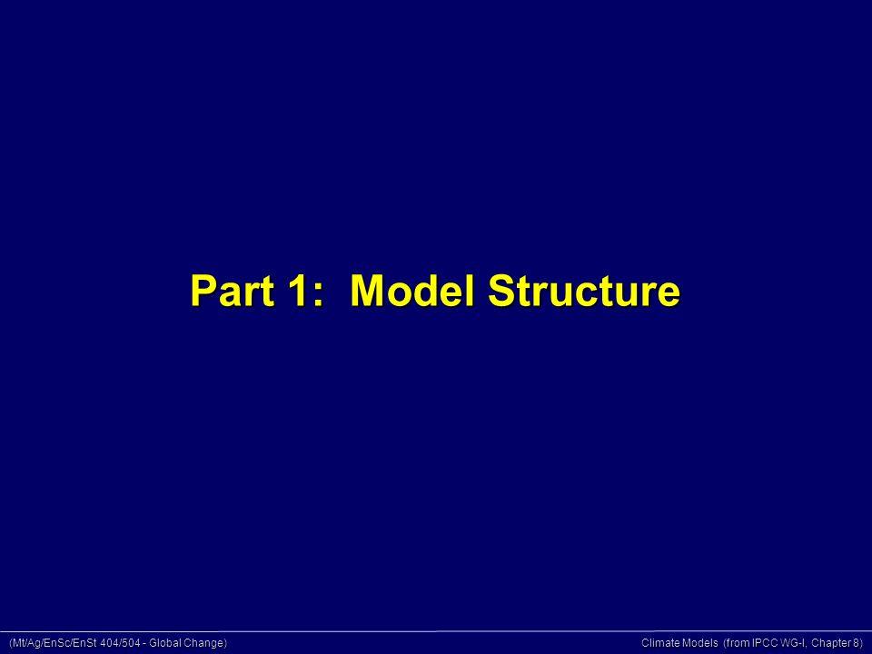 (Mt/Ag/EnSc/EnSt 404/504 - Global Change) Climate Models (from IPCC WG-I, Chapter 8) Part 1: Model Structure