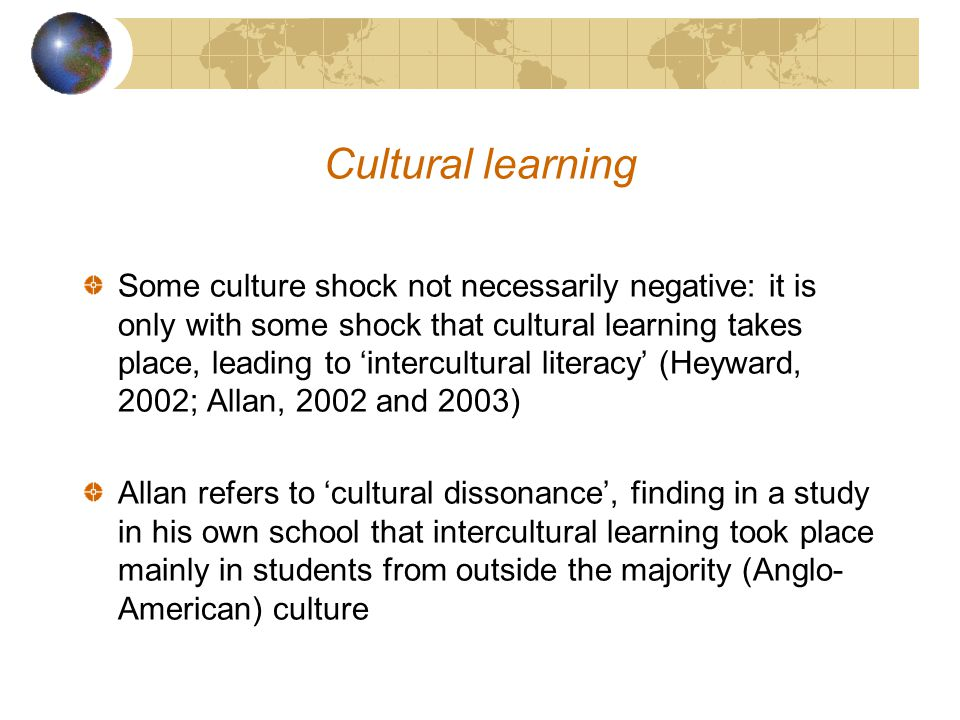 Culture Shock Models originated in 1950s (U-curve and, later, W curve) begin with first stage of initial enthusiasm.