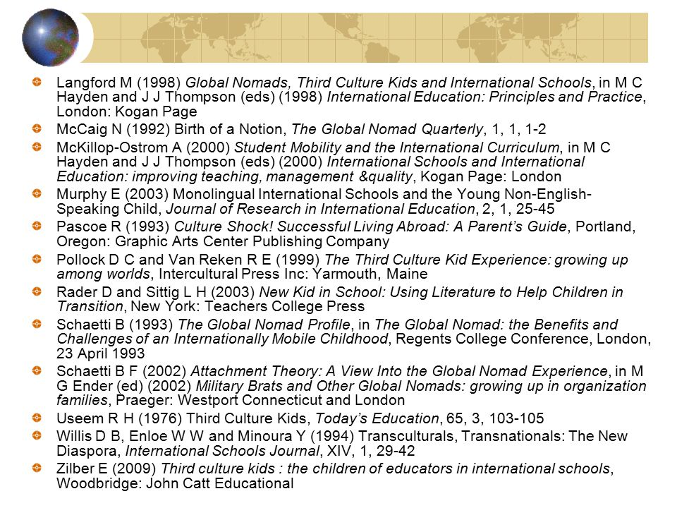 References Allan M (2002) Cultural Borderlands: a case study of cultural dissonance in an international school, Journal of Research in International E
