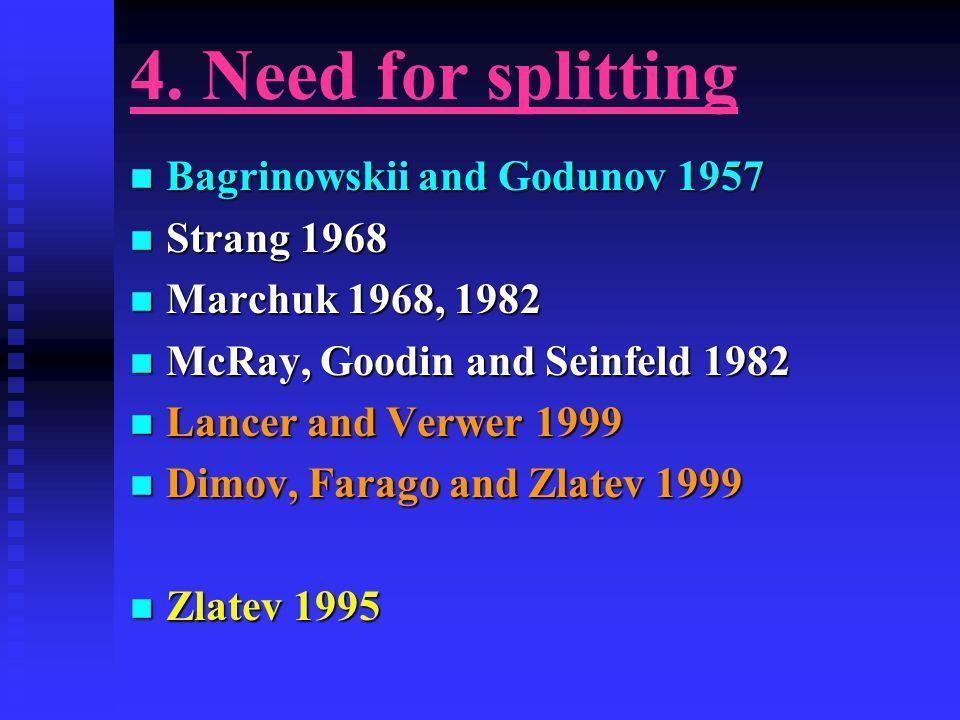 4. Need for splitting n Bagrinowskii and Godunov 1957 n Strang 1968 n Marchuk 1968, 1982 n McRay, Goodin and Seinfeld 1982 n Lancer and Verwer 1999 n