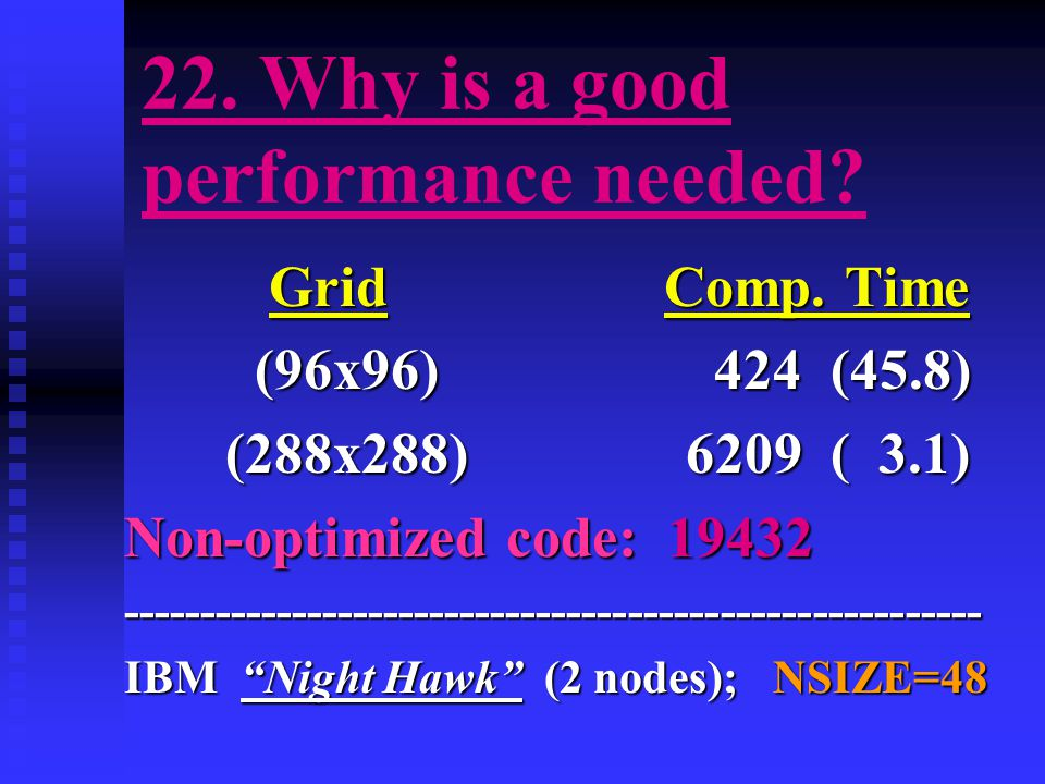 22. Why is a good performance needed. Grid Comp.