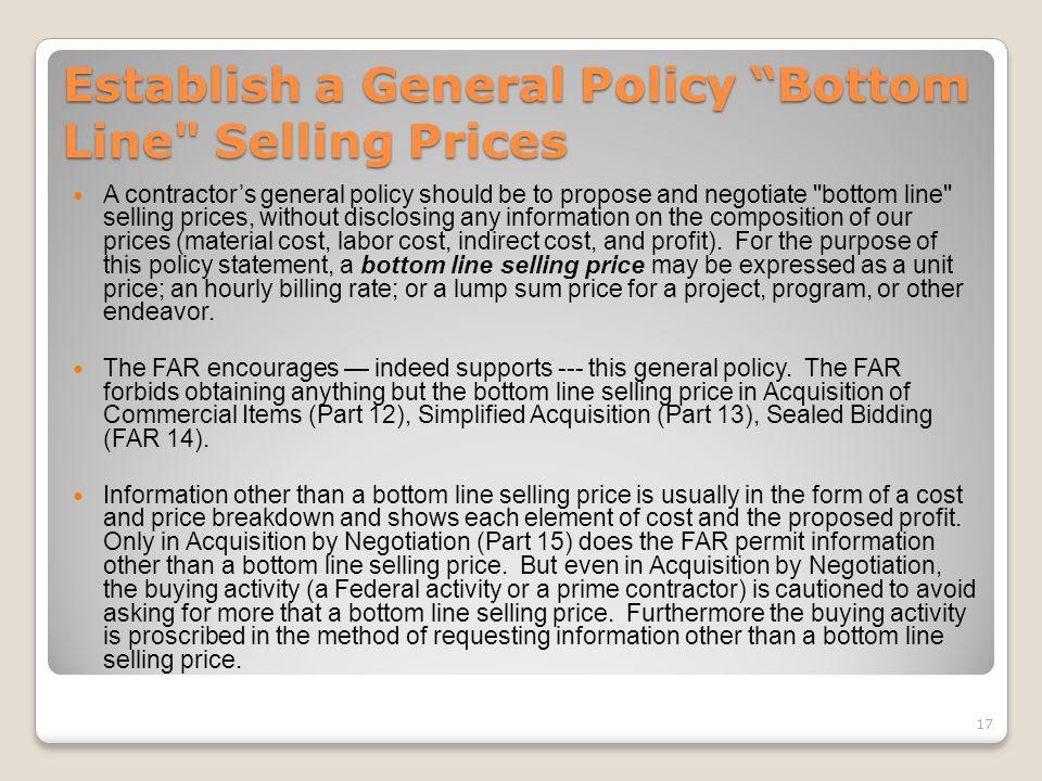 "Establish a General Policy ""Bottom Line"