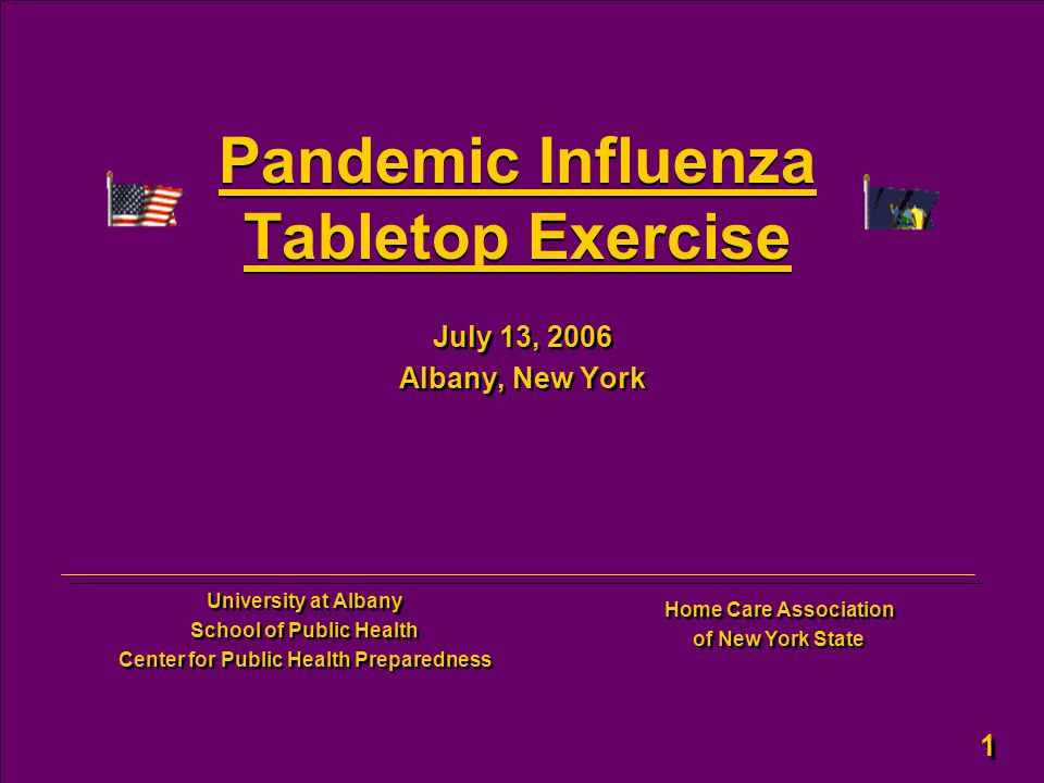 1 1 Pandemic Influenza Tabletop Exercise July 13, 2006 Albany, New York July 13, 2006 Albany, New York University at Albany School of Public Health Ce