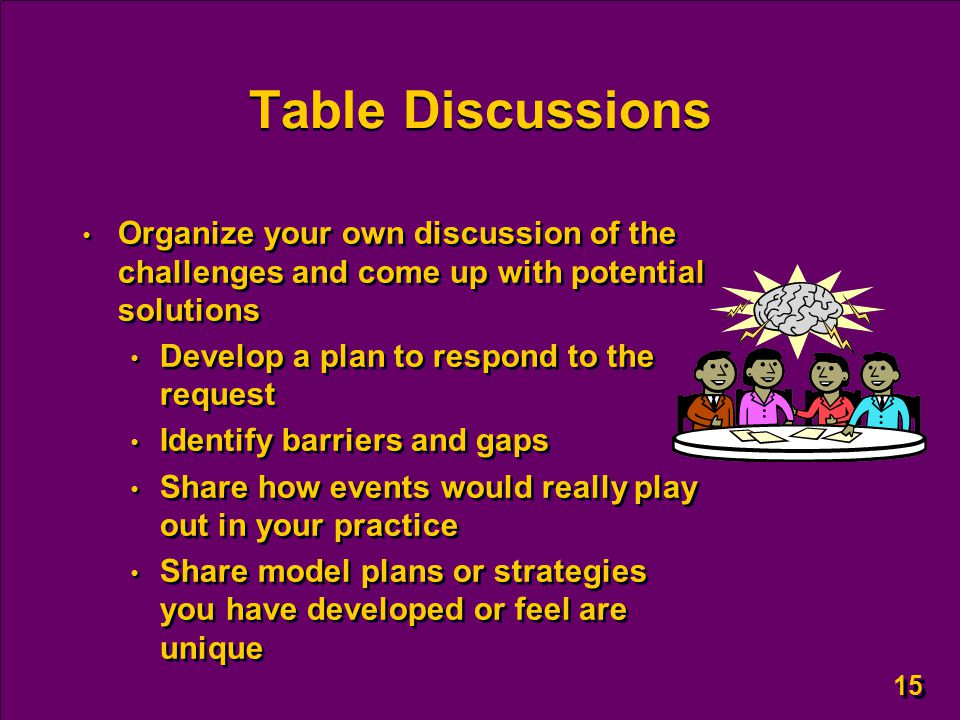 15 Table Discussions Organize your own discussion of the challenges and come up with potential solutions Develop a plan to respond to the request Identify barriers and gaps Share how events would really play out in your practice Share model plans or strategies you have developed or feel are unique Organize your own discussion of the challenges and come up with potential solutions Develop a plan to respond to the request Identify barriers and gaps Share how events would really play out in your practice Share model plans or strategies you have developed or feel are unique