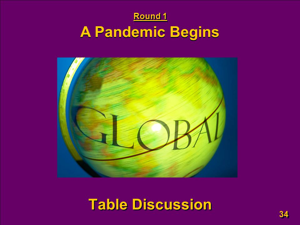 34 Table Discussion Round 1 A Pandemic Begins
