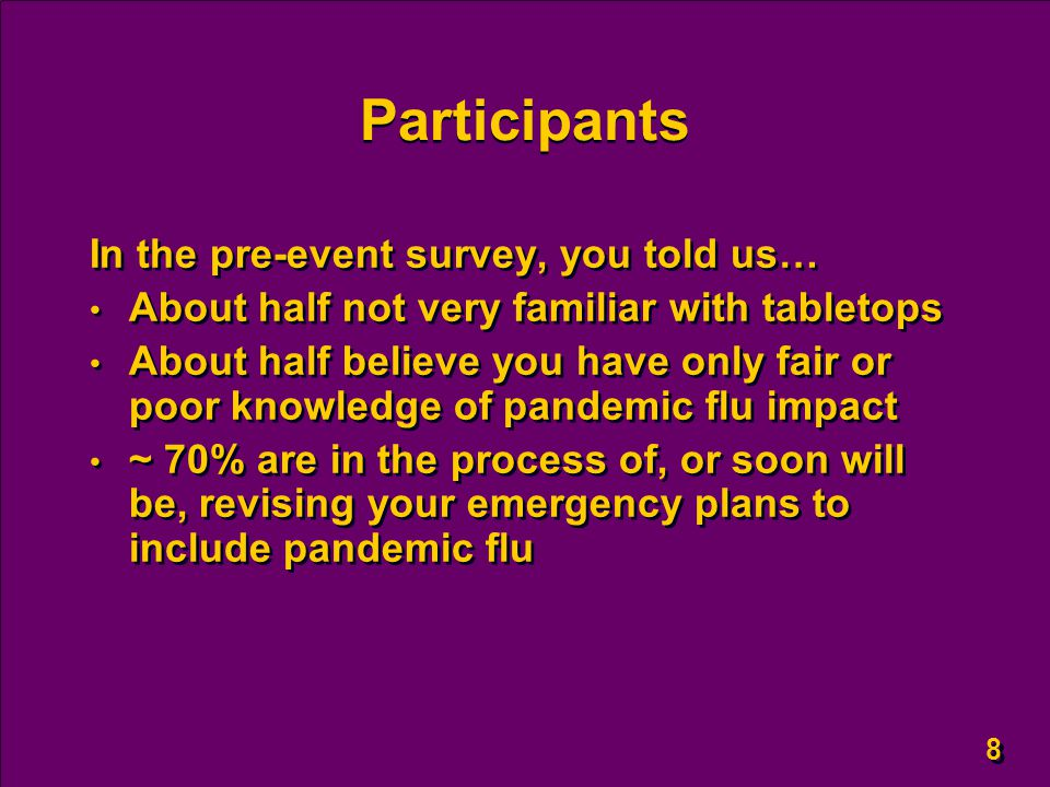 8 8 Participants In the pre-event survey, you told us… About half not very familiar with tabletops About half believe you have only fair or poor knowledge of pandemic flu impact ~ 70% are in the process of, or soon will be, revising your emergency plans to include pandemic flu In the pre-event survey, you told us… About half not very familiar with tabletops About half believe you have only fair or poor knowledge of pandemic flu impact ~ 70% are in the process of, or soon will be, revising your emergency plans to include pandemic flu