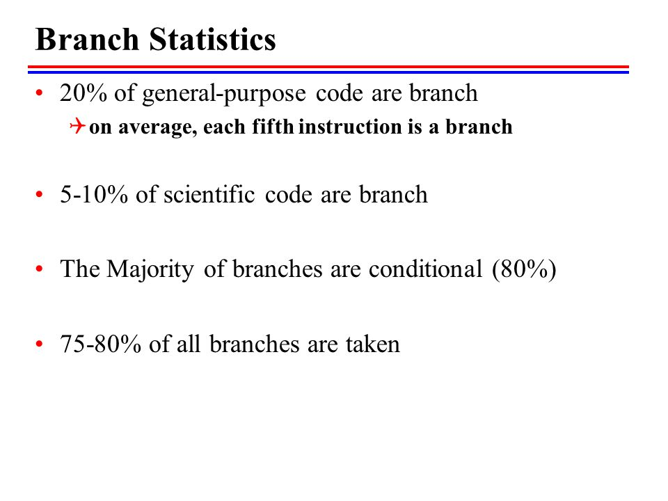 Branch Statistics 20% of general-purpose code are branch  on average, each fifth instruction is a branch 5-10% of scientific code are branch The Majo