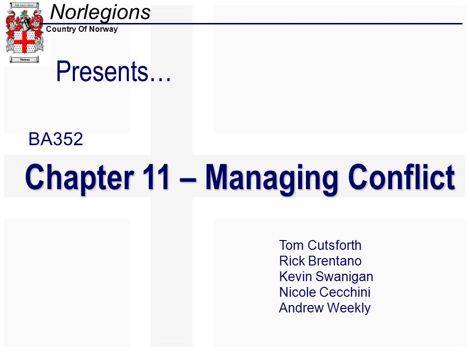 Norlegions Country Of Norway Presents… Chapter 11 – Managing Conflict Tom Cutsforth Rick Brentano Kevin Swanigan Nicole Cecchini Andrew Weekly BA352