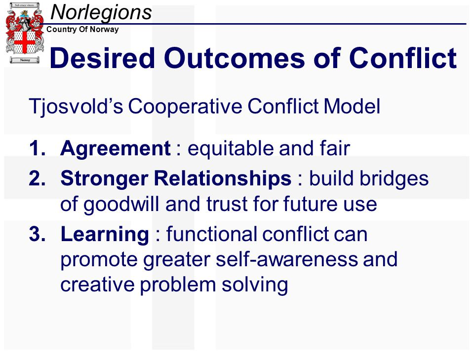 Norlegions Country Of Norway Desired Outcomes of Conflict Tjosvold's Cooperative Conflict Model 1.Agreement : equitable and fair 2.Stronger Relationships : build bridges of goodwill and trust for future use 3.Learning : functional conflict can promote greater self-awareness and creative problem solving