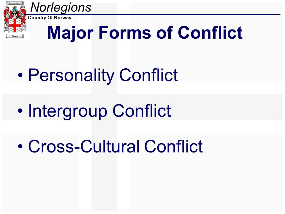 Norlegions Country Of Norway Major Forms of Conflict Personality Conflict Intergroup Conflict Cross-Cultural Conflict