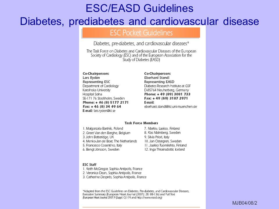 MJB04/08/2 ESC/EASD Guidelines Diabetes, prediabetes and cardiovascular disease