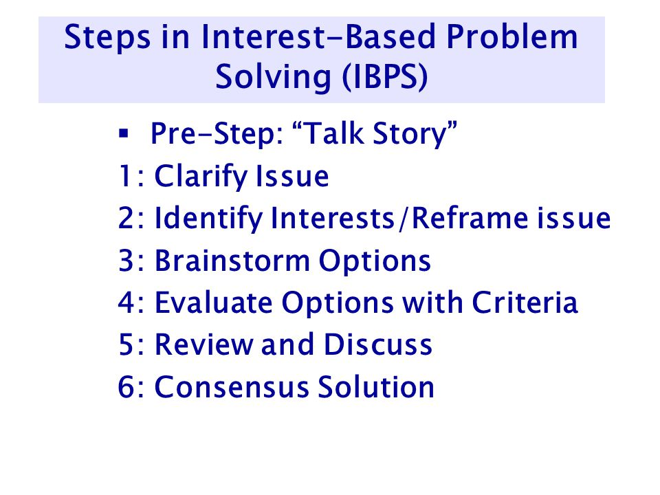 Steps in Interest-Based Problem Solving (IBPS)  Pre-Step: Talk Story 1: Clarify Issue 2: Identify Interests/Reframe issue 3: Brainstorm Options 4: Evaluate Options with Criteria 5: Review and Discuss 6: Consensus Solution
