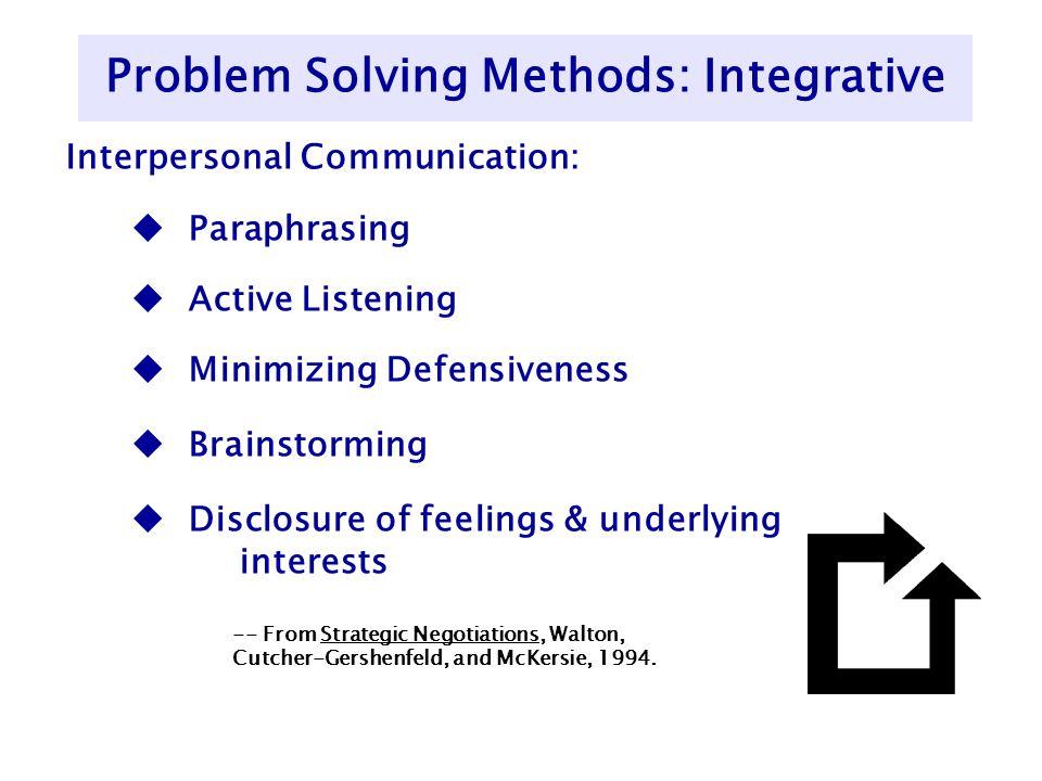 Interpersonal Communication: u Paraphrasing u Active Listening u Minimizing Defensiveness u Brainstorming u Disclosure of feelings & underlying intere