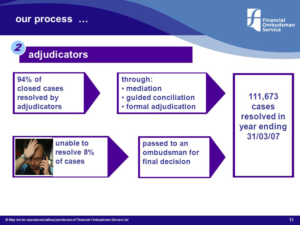 © May not be reproduced without permission of Financial Ombudsman Service Ltd 13 our process … adjudicators 2 94% of closed cases resolved by adjudica