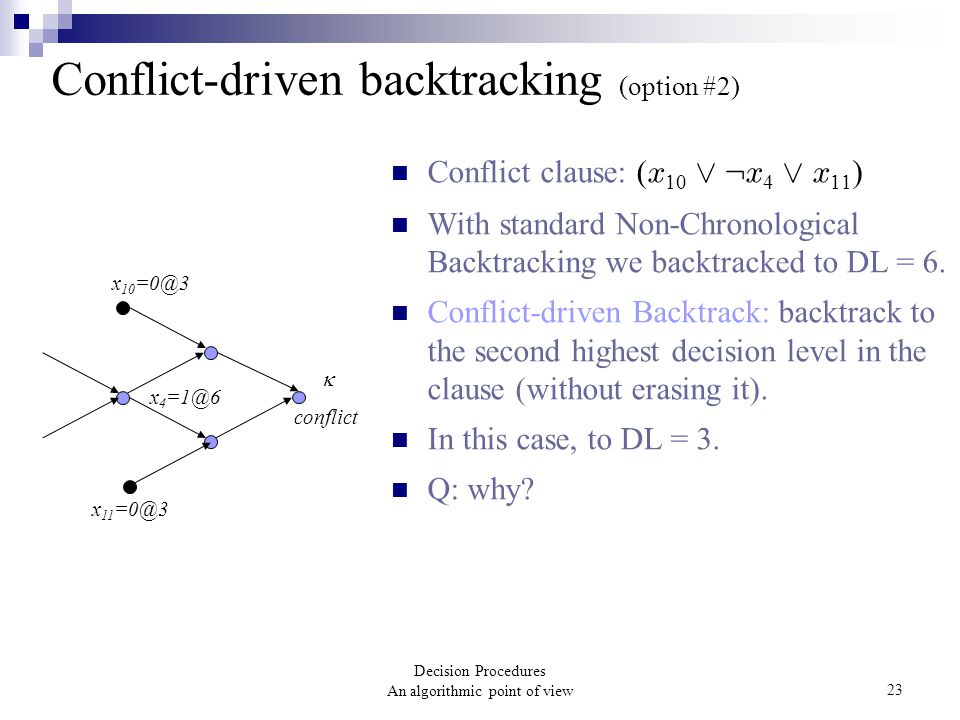 Decision Procedures An algorithmic point of view23 Conflict-driven backtracking (option #2) Conflict clause: ( x 10 Ç : x 4 Ç x 11 ) With standard Non-Chronological Backtracking we backtracked to DL = 6.