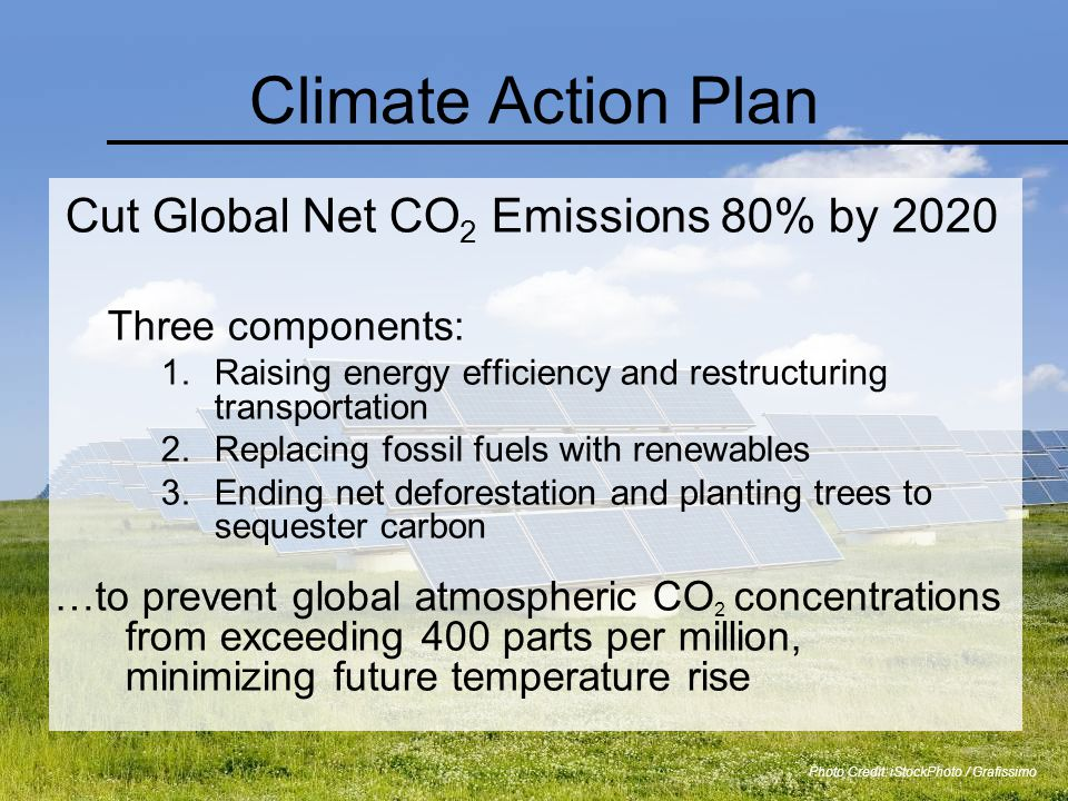Climate Action Plan Cut Global Net CO 2 Emissions 80% by 2020 Three components: 1.Raising energy efficiency and restructuring transportation 2.Replacing fossil fuels with renewables 3.Ending net deforestation and planting trees to sequester carbon …to prevent global atmospheric CO 2 concentrations from exceeding 400 parts per million, minimizing future temperature rise Photo Credit: iStockPhoto / Grafissimo