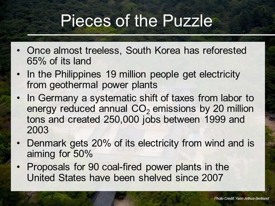 Once almost treeless, South Korea has reforested 65% of its land In the Philippines 19 million people get electricity from geothermal power plants In Germany a systematic shift of taxes from labor to energy reduced annual CO 2 emissions by 20 million tons and created 250,000 jobs between 1999 and 2003 Denmark gets 20% of its electricity from wind and is aiming for 50% Proposals for 90 coal-fired power plants in the United States have been shelved since 2007 Pieces of the Puzzle Photo Credit: Yann Arthus-Bertrand
