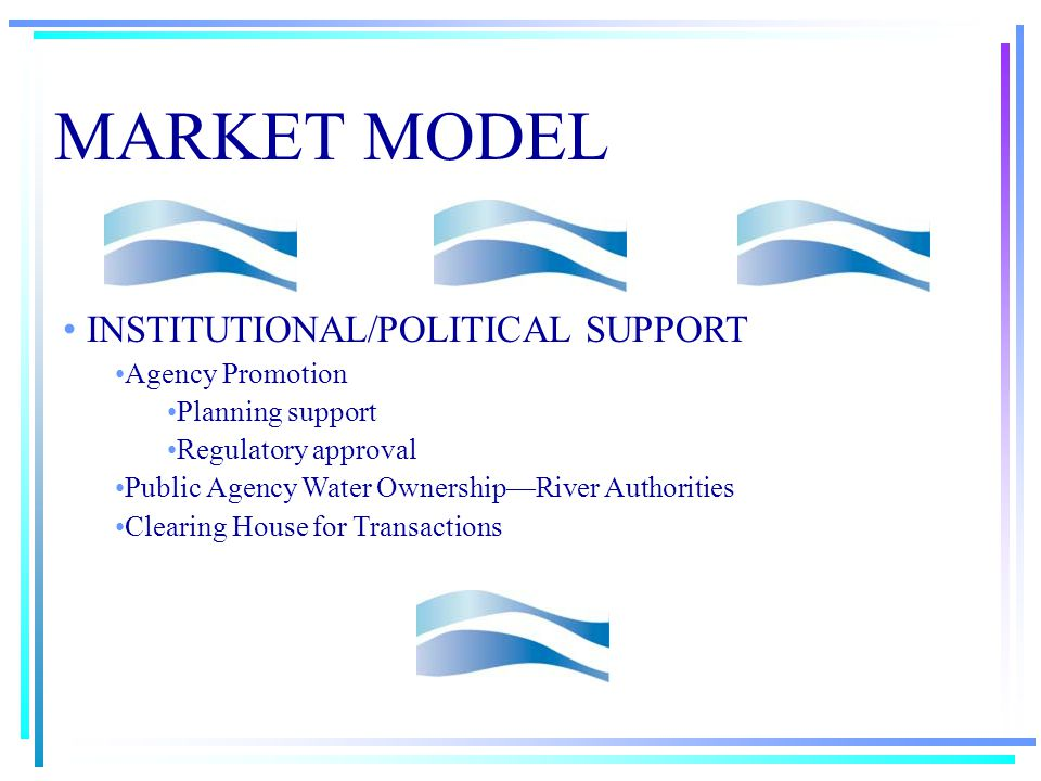 MARKET MODEL TECHNICAL CONSIDERATIONS Conveyance Systems Pipelines Natural Watercourses Statewide Plumbing Systems Urban Growth