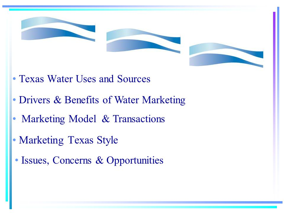 Water Marketing in Texas Ronald Kaiser, Texas A&M University May 4 th, 2001 Texas Rural Land Market Conference