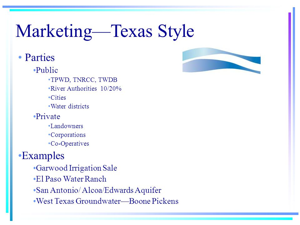 Marketing—Texas Style Agric.