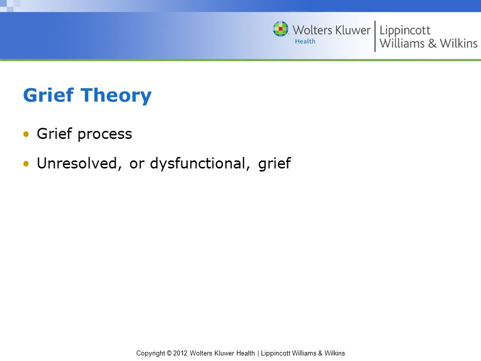 Copyright © 2012 Wolters Kluwer Health | Lippincott Williams & Wilkins Grief Theory Grief process Unresolved, or dysfunctional, grief