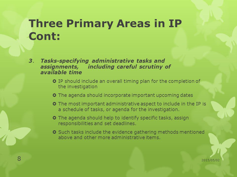 Three Primary Areas in IP Cont: 3.
