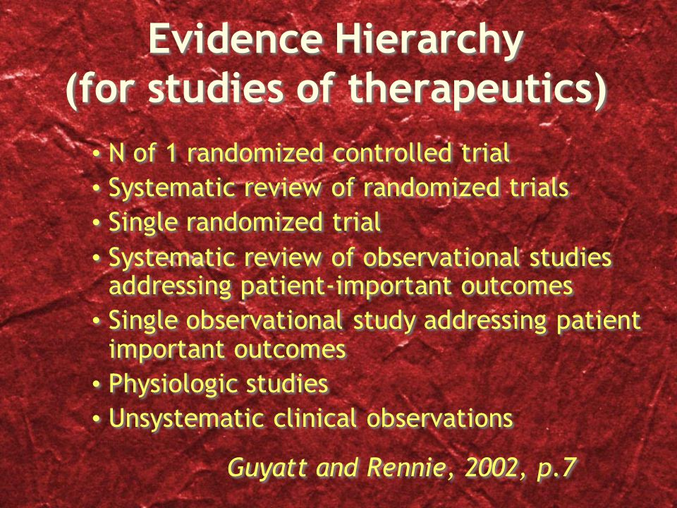 Evidence Hierarchy (for studies of therapeutics) N of 1 randomized controlled trial Systematic review of randomized trials Single randomized trial Systematic review of observational studies addressing patient-important outcomes Single observational study addressing patient important outcomes Physiologic studies Unsystematic clinical observations Guyatt and Rennie, 2002, p.7 N of 1 randomized controlled trial Systematic review of randomized trials Single randomized trial Systematic review of observational studies addressing patient-important outcomes Single observational study addressing patient important outcomes Physiologic studies Unsystematic clinical observations Guyatt and Rennie, 2002, p.7