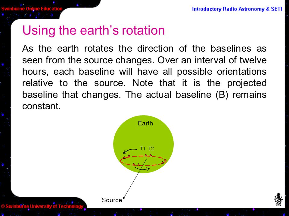 As the earth rotates the direction of the baselines as seen from the source changes. Over an interval of twelve hours, each baseline will have all pos