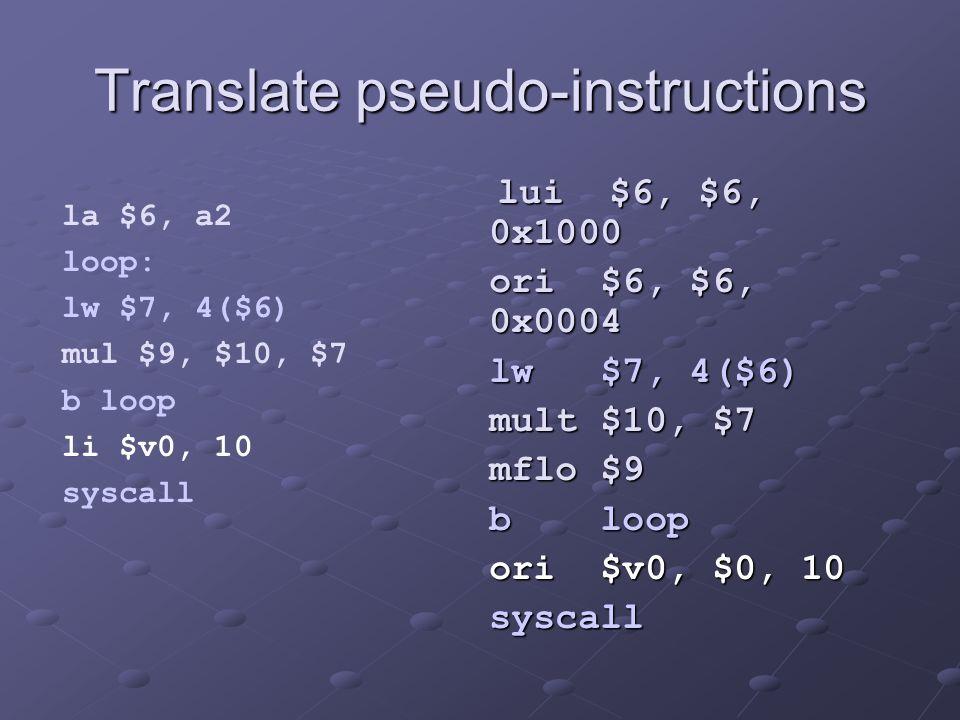 Translate pseudo-instructions lui $6, $6, 0x1000 lui $6, $6, 0x1000 ori $6, $6, 0x0004 ori $6, $6, 0x0004 lw $7, 4($6) lw $7, 4($6) mult $10, $7 mult