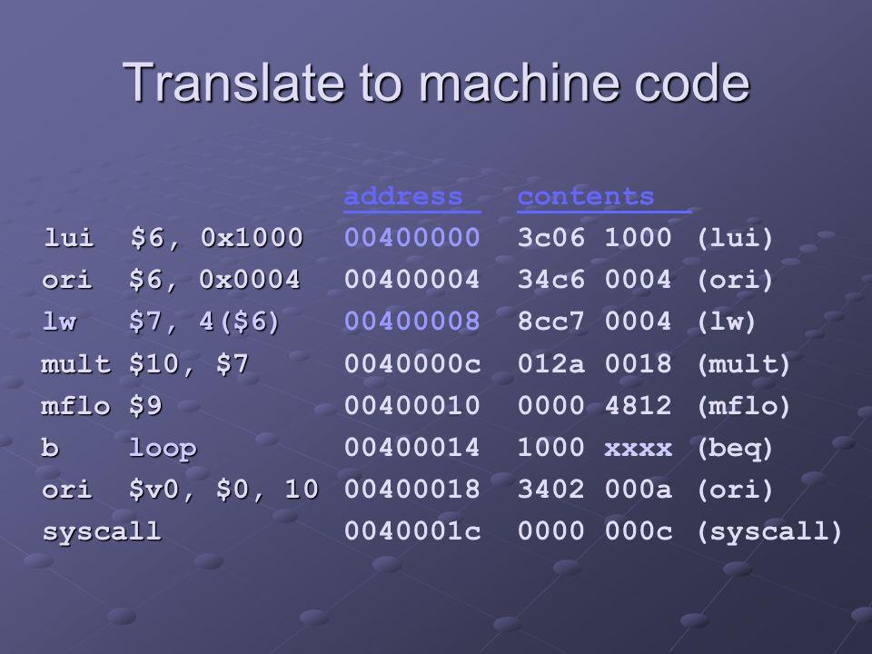 Translate to machine code lui $6, 0x1000 lui $6, 0x1000 ori $6, 0x0004 ori $6, 0x0004 lw $7, 4($6) lw $7, 4($6) mult $10, $7 mult $10, $7 mflo $9 mflo