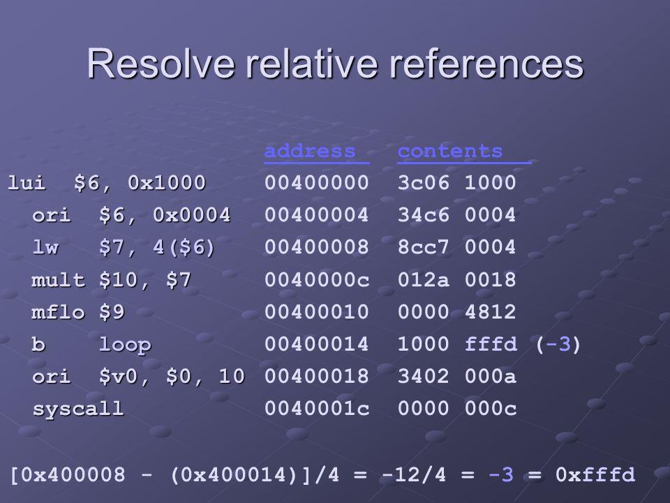 Resolve relative references lui $6, 0x1000 ori $6, 0x0004 ori $6, 0x0004 lw $7, 4($6) lw $7, 4($6) mult $10, $7 mult $10, $7 mflo $9 mflo $9 b loop b loop ori $v0, $0, 10 ori $v0, $0, 10 syscall syscall address contents 00400000 3c06 1000 00400004 34c6 0004 00400008 8cc7 0004 0040000c 012a 0018 00400010 0000 4812 00400014 1000 fffd (-3) 00400018 3402 000a 0040001c 0000 000c [0x400008 - (0x400014)]/4 = -12/4 = -3 = 0xfffd