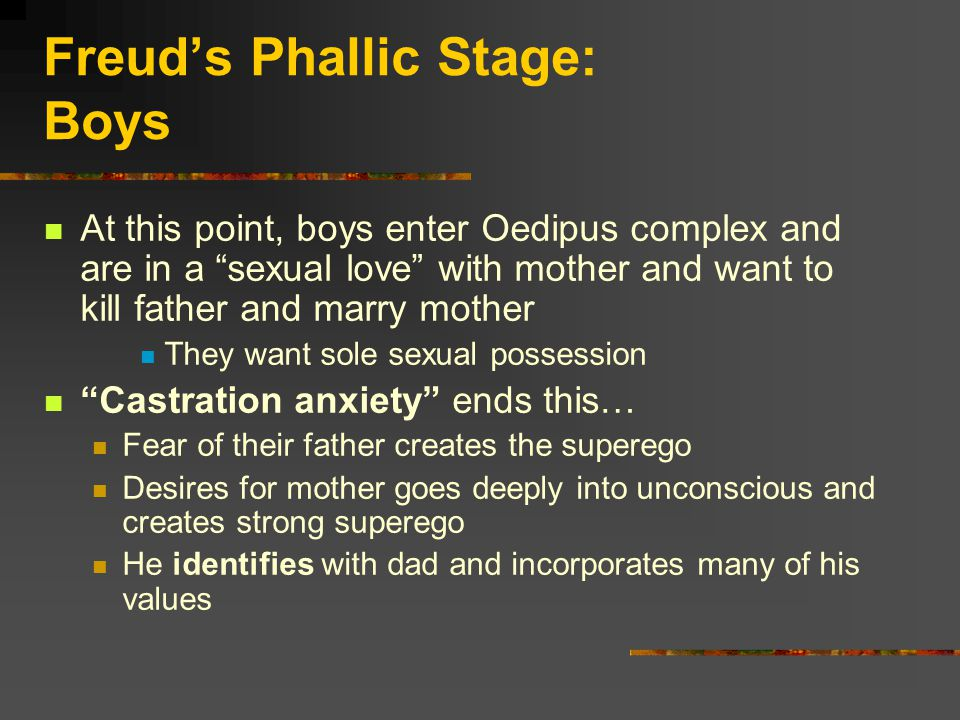 Freud's Phallic Stage: Boys At this point, boys enter Oedipus complex and are in a sexual love with mother and want to kill father and marry mother They want sole sexual possession Castration anxiety ends this… Fear of their father creates the superego Desires for mother goes deeply into unconscious and creates strong superego He identifies with dad and incorporates many of his values