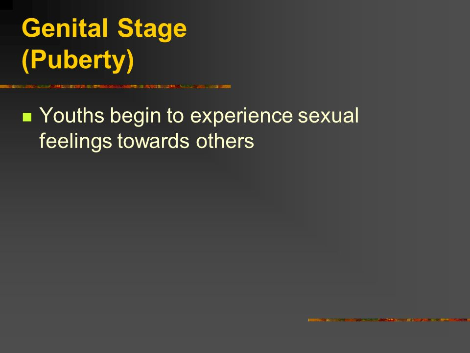 Genital Stage (Puberty) Youths begin to experience sexual feelings towards others