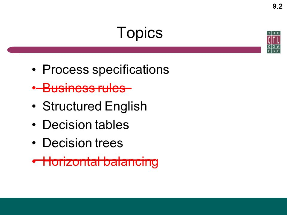9.2 Topics Process specifications Business rules Structured English Decision tables Decision trees Horizontal balancing