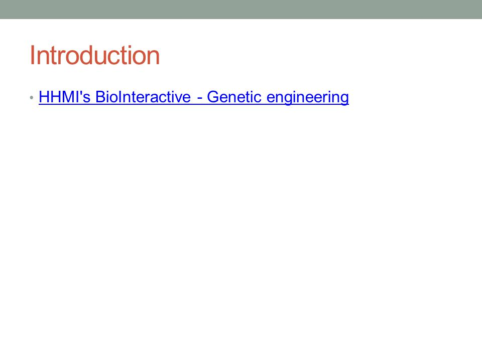 Introduction HHMI s BioInteractive - Genetic engineering