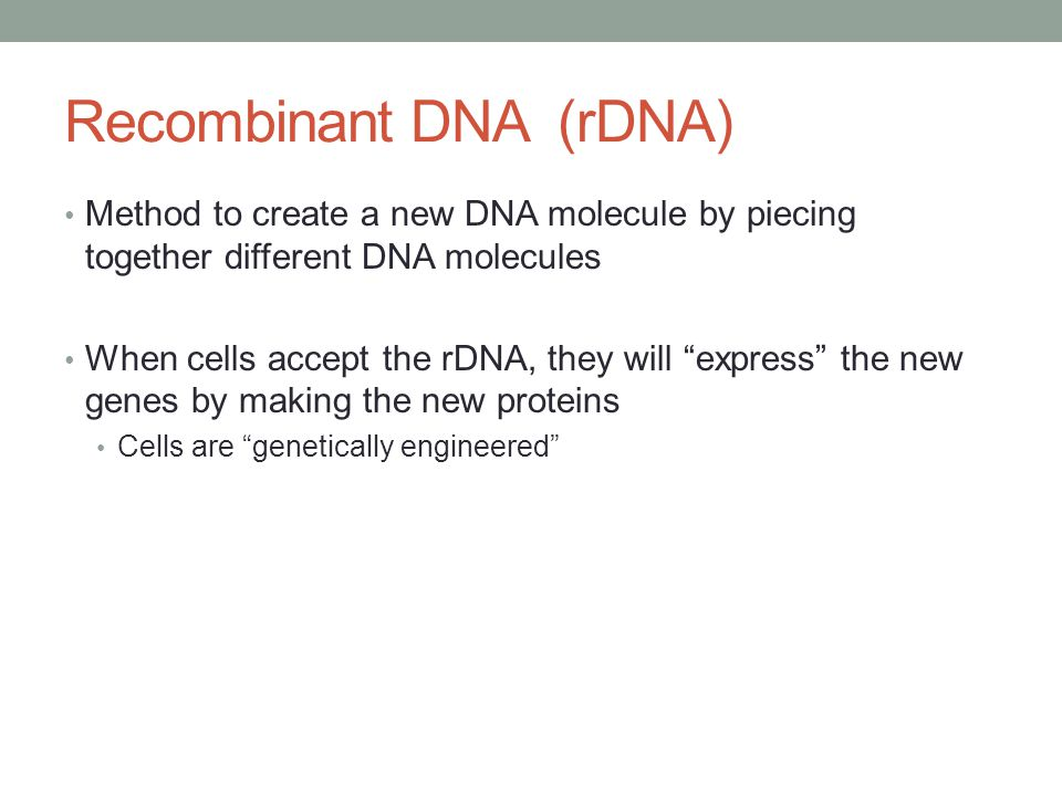 "Recombinant DNA (rDNA) Method to create a new DNA molecule by piecing together different DNA molecules When cells accept the rDNA, they will ""express"""