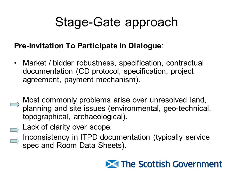 Stage-Gate approach Pre-Invitation To Participate in Dialogue: Market / bidder robustness, specification, contractual documentation (CD protocol, specification, project agreement, payment mechanism).