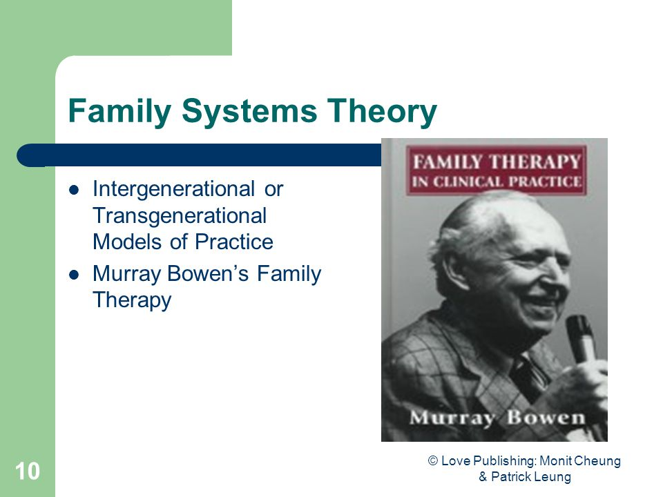 © Love Publishing: Monit Cheung & Patrick Leung 10 Family Systems Theory Intergenerational or Transgenerational Models of Practice Murray Bowen's Family Therapy